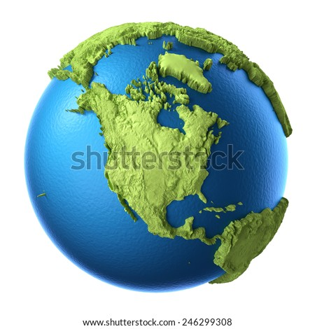 Globe 3d isolated on white background. Continent North America. Elements of this image furnished by NASA - stock photo