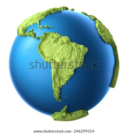 Globe 3d isolated on white background. Continent South America. Elements of this image furnished by NASA - stock photo