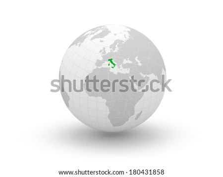 Globe. 3d. Italy. Elements of this image furnished by NASA