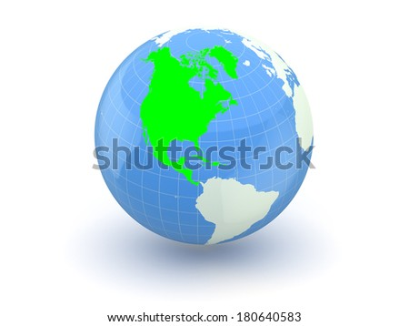 Globe. 3d. North America. Elements of this image furnished by NASA