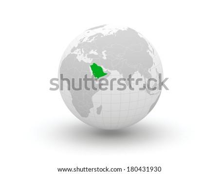Globe. 3d. Saudi Arabia. Elements of this image furnished by NASA - stock photo