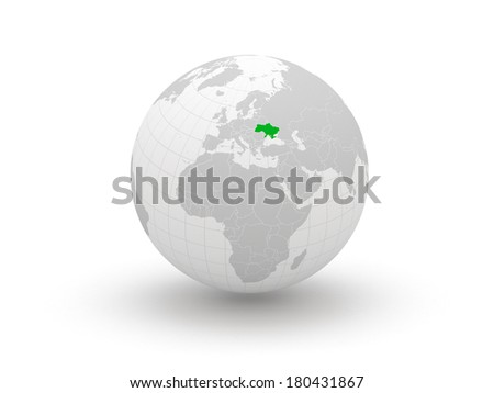Globe. 3d. Ukraine. Elements of this image furnished by NASA