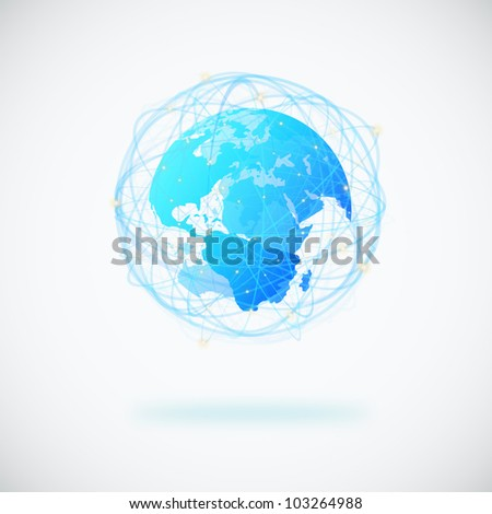 globe design with sphere line and connection signal