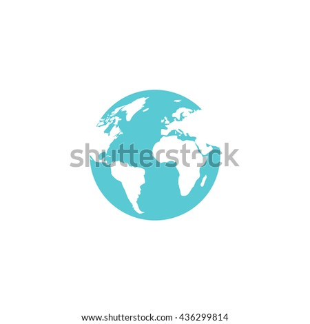 Globe earth. Color simple flat icon on white background - stock photo