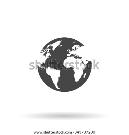 Globe earth. Flat icon on grey background with shadow - stock photo