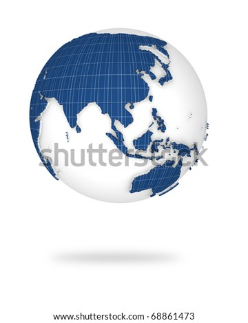 Globe earth in photovoltaic style. Asia and Oceania lands.