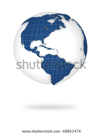 Globe earth in photovoltaic style.  North and south America lands.