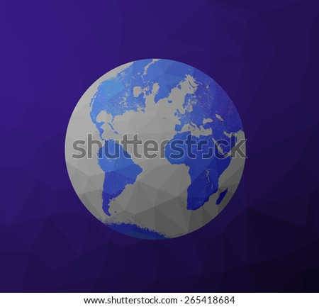 Globe Earth model icon with polygon shapes and map of the continents of the world. Low poly background triangles and rectangles. Purple, violet, blue, cyan, gray color. - stock photo