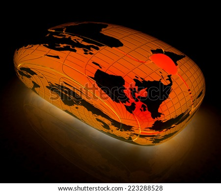 Globe Earth Mouse on a black background - stock photo