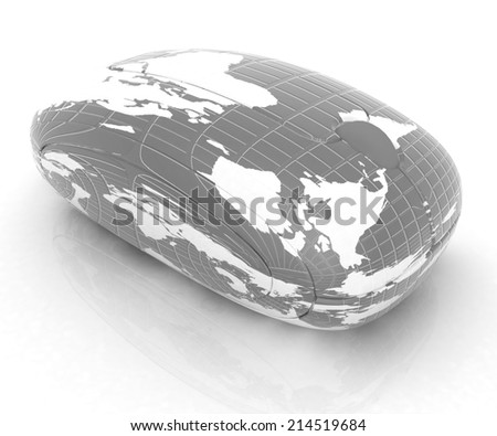 Globe Earth Mouse on a white background - stock photo