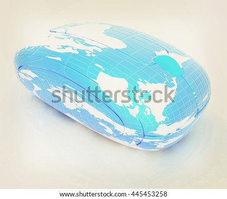 Globe Earth Mouse on a white background. 3D illustration. Vintage style. - stock photo