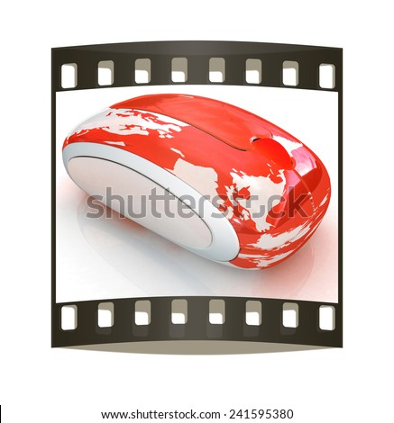 Globe Earth On line on a white background. The film strip - stock photo