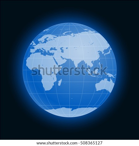 Globe Earth symbol flat icon isolated on black background. Europe, Asia, Africa, Australia, Antarctica, Arctic. illustration