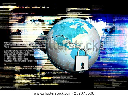 Globe Earth with metal chain and closed lock.Security Internet concept - stock photo