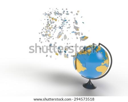 Globe explosion - stock photo