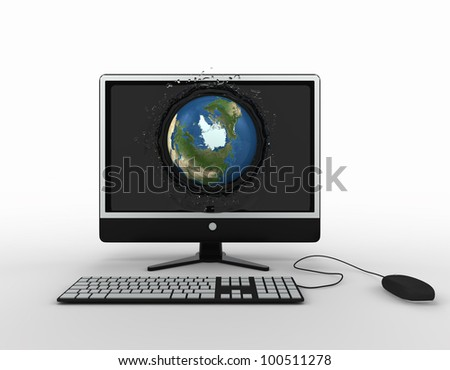 globe falling with splashes into the computer monitor screen. Elements of this image furnished by NASA - stock photo