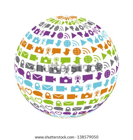 Globe filled with social networking and media icons in bright colors