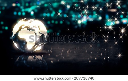 Globe Glass Crystal Silver City Light Shine Bokeh 3D Background - stock photo