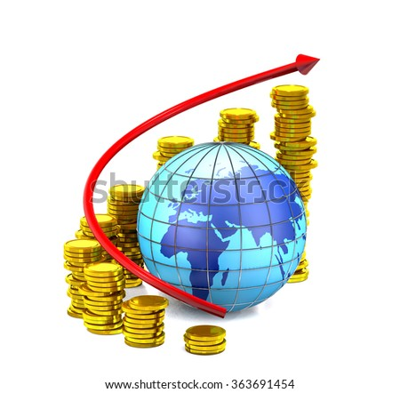 Globe, gold coins and red arrow on white background. - stock photo