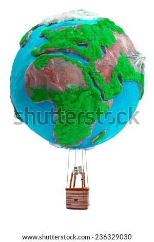 globe hot air balloon with basket in ecology concept isolate on white background with clipping path - stock photo