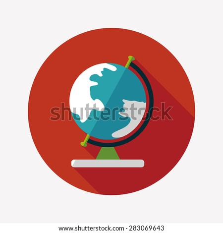 globe icon, flat icon with long shadow