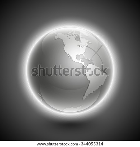 Globe icon with smooth shadows and white map of the continents of the world