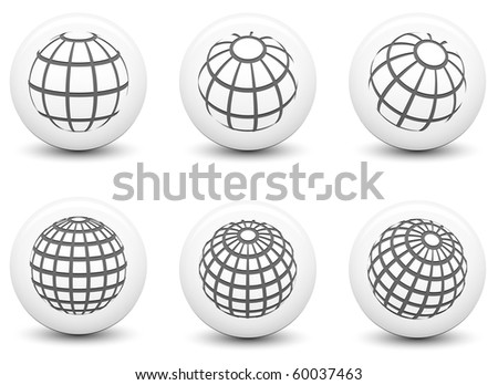 Globe Icons on Round Black and White Button Collection Original Illustration
