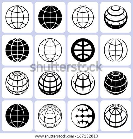 Globe Icons Set - stock photo