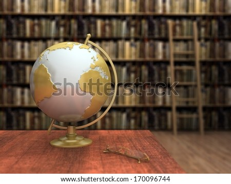 Globe in a library - stock photo