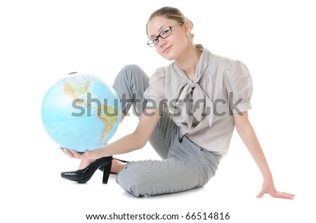 Globe in beauty hands of sitting young woman