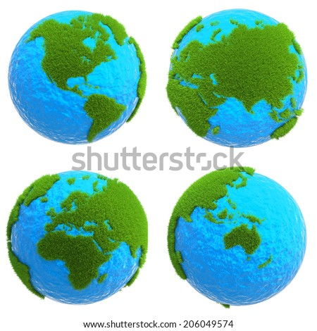 globe isolated on white background with green grass of the continents - stock photo