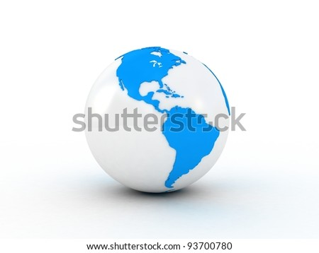 Globe isolated white background, 3D