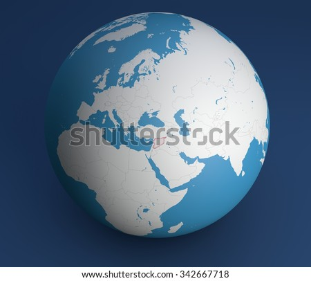 Globe map, Syria, Europe, Africa, Asia and the Middle East - stock photo