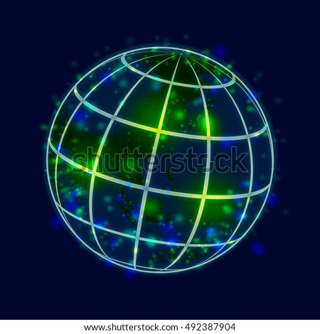 Globe network abstract background image illustration.