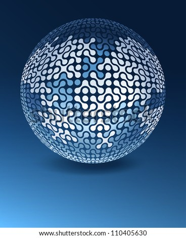 Globe network concept with copy space. Raster version, vector file available in portfolio. - stock photo