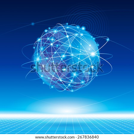 Globe network connection abstract background. - stock photo