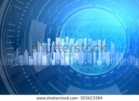 Globe network connection on city skyscraper background. - stock photo