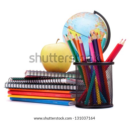Globe, notebook stack and pencils. Schoolchild and student studies accessories. Back to school concept. - stock photo