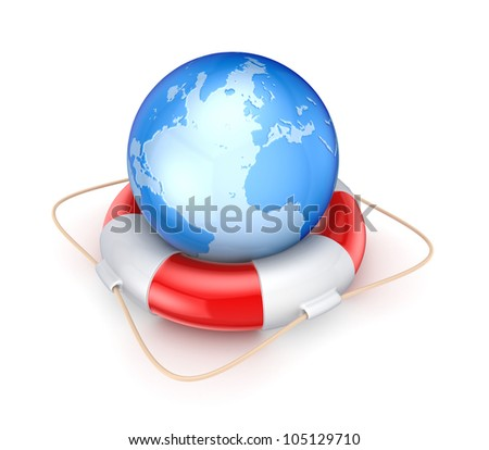 Globe on a lifebuoy.Isolated on white background.3d rendered.