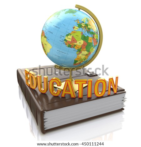 Globe on book isolated over white background in the design of information related to education. 3d illustration - stock photo
