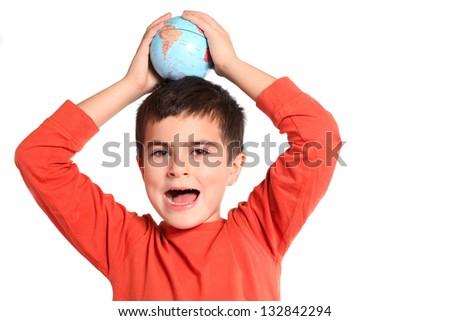Globe on child hands - stock photo