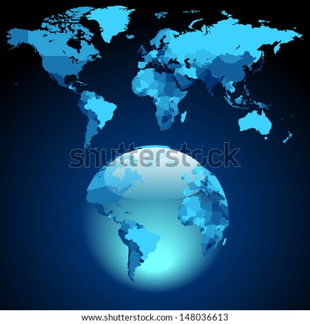 Globe on dark blue World map. Raster version. Vector version is also available.