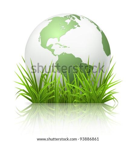 Globe on grass, bitmap copy - stock photo