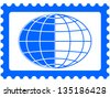 Globe on the postage stamp - stock photo