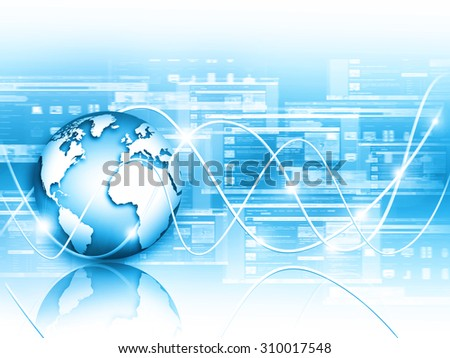 Globe on the technical background of glowing lines show the data on the Internet and various communications. Best Internet Concept of global business