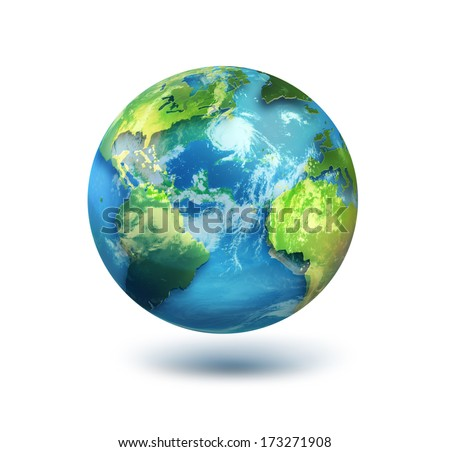 globe on white background.Elements of this image furnished by NASA. - stock photo