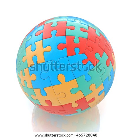 Globe or sphere from puzzles on white background in the design of the information associated with abstraction. 3d illustration
