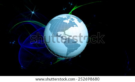 Globe planet Earth over abstract cosmos background.Internet concept