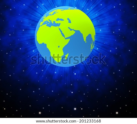 Globe Planets Indicating Solar System And Globalization - stock photo