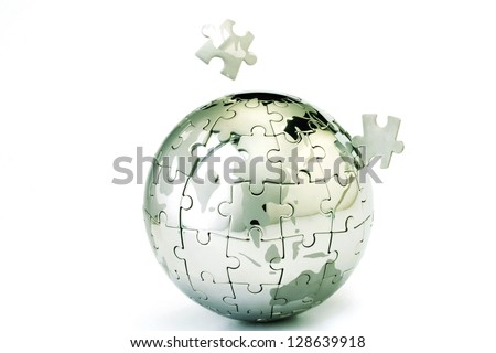 Globe puzzle  isolated on white - stock photo